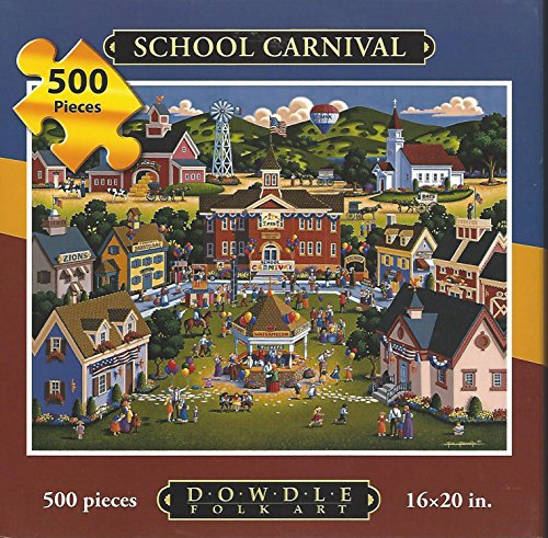 "Dowdle Folk Art 500 Piece Puzzle School Carnival 16""x20"" Finished Sz Farm Dunk Tank"