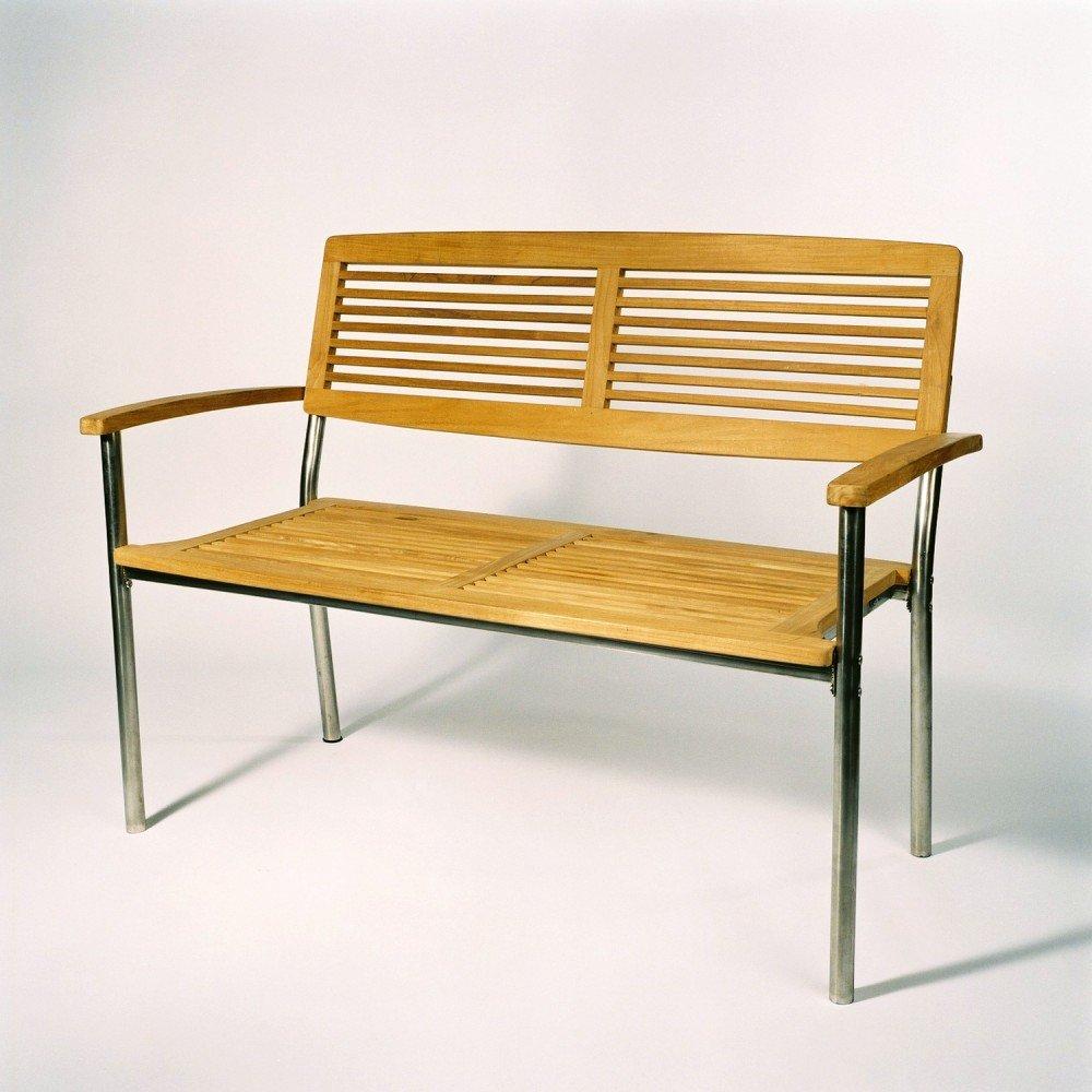 2-Sitzer Bank Teak / Edelstahl B/H/T 125x93x62 cm online bestellen