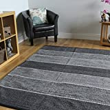 Modern Grey Striped Reversible Hand Woven Luxury Cotton Rugs - Strokes 170cm x 230cm (5ft6
