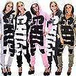 DSguided Damen Chill Print Overall gemütlicher Einteiler Onesie Jumpsuit in verschiedenen Farben, Größe:M;Farbe:Grau