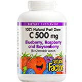Natural Factors - Vitamin C 500mg, 100% Natural Fruit Chew, Blueberry, Raspberry, & Boysenberry, 180 Chewable Wafers