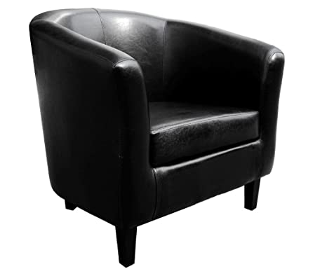 Tipton Tub Chair Black In Faux Leather With Elegant Wooden Feet by Carran Office Furniture