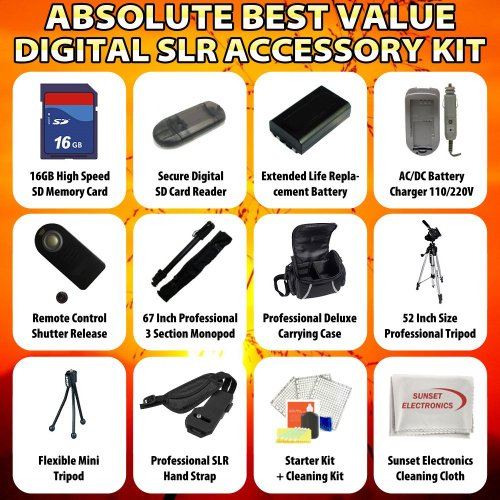 Absolute Best Value Digital SLR Accessory Kit For the Canon EOS 7D Digital SLR Camera Package Includes 16GB Hi Speed Error Free Memory Card, SD Card Reader, 2 Extended Life Replacement Battery Packs, 1 Hour Home & Car Charger + Much more!!