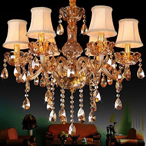 Rts@ D'oro cristallo lampadario ambra soggiorno sala da pranzo camera da letto tessuto semplicemente europeo di cristallo lampade luci , 6 head