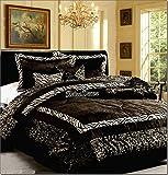 7 Pieces Faux Fur Safari Black & White Zebra Animal Queen Comforter Set On Sale