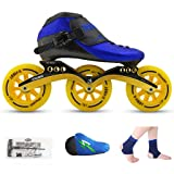 ailj Roller Skates, Speed Skating Shoes, Racing Shoes, Children's Adult Professional Skates, Men and Women Inline Skates (Color : Blue Shoes+Yellow Wheels, Size : 33) (Color: Blue shoes+yellow wheels, Tamaño: 33)