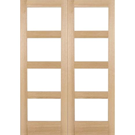 "Green Tree Doors Pre-finished Oak Shaker 4 Light Clear Internal Door Pair (762mm (30""))"