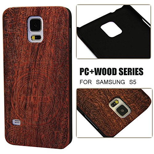 Samsung Galaxy S5 Case,S5 Case,Unique Design Handmade Green Environment Wooden Wood Material [Outside Shell]Bumper Hard Cover Case for Galaxy S5 With PC Material[Frame and inside Shell]Gift Box Packaging With Screen Protector - Rosewood