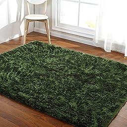 Hoomy Fluffy Bed Room Area Rugs Deep Green Shaggy Floor Mats Modern Solid Girls Room Carpet Nonslip Floor Rugs 3X6.5