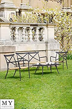 MY-Furniture - MILOS NERO Set Lounge all'aperto con 2 Sedie e Panca /panchina a due posti in Alluminio e Rattan
