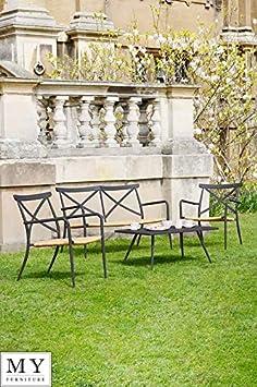 MY-Furniture - Conjunto de comedor exterior (2 sillas y 1 dos plazas) de aluminio y ratán de color negro – Gama MILOS