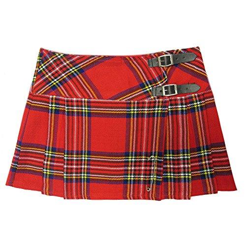 Viper London - Minigonna tartan a pieghe con spilla - 33 cm - rosso - 38