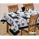 Swayam Libra Printed Cotton 6 Seater Table Sheet - Black And Whine (RDS16-60X90-5005)