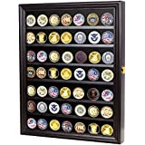 56 Challenge Coin / Casino Chip Display Case Cabinet Holder Shadow Box, Glass Door, Black (COIN56-BL)