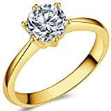 Jude Jewelers 1.0 Carat Classical Stainless Steel Solitaire Engagement Ring (Gold, 5.5) (Color: Gold)