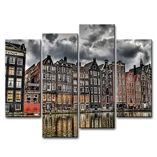 4 Piece Wall Art Painting Channel Coffee Shop Amsterdam Pictures Prints On Canvas City The Picture Decor Oil For Home Modern Decoration Print