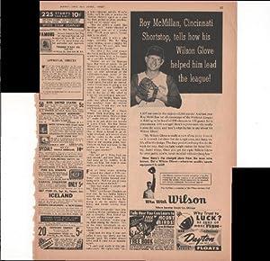 Wilson Baseball Glove Roy McMillan Cincinnati 1957 Vintage Antique Advertisement