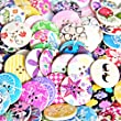 RayLineDo® Pack of 100PCS Designed Super Fantastic Round Shaped Painted 4 Hole Wooden Buttons from RayLineDo