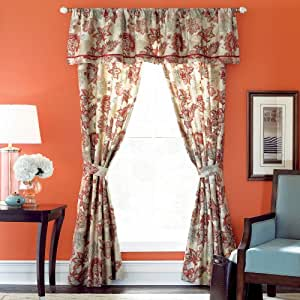 Cindy Crawford Style Flora Rouge Tailored Valance In Barn Red Home Kitchen