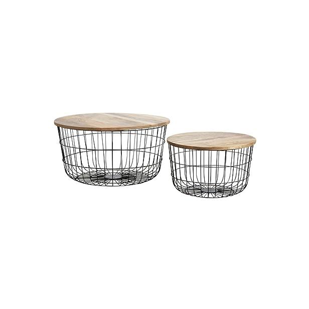 Aubry Gaspard mta165s Tavolini bassi in metallo nero e legno naturale