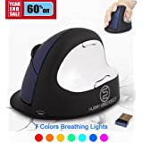 ev. Wireless Ergonomic Vertical Mouse, Rechargeable Laser Ergo Gaming Mice with Adjustable DPI 500/1000/1800/2500 for Laptops and PC, 7 Colors Breathing Light - 6 Buttons, Large Blue, Right Hand