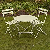 east2eden Cream Metal Folding 2 Seater Patio Bistro Garden Chair Seat & Table Set