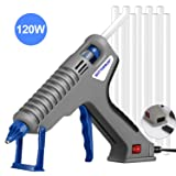 Hot Glue Gun, BOTTERRUN 120W Professional Full Size Hot Melt Glue Gun Kit with Adhesive Glue Sticks, Heavy Duty Quick Heating for Industrial Construction DIY Arts Crafts School Home Repairs (Color: Gray)