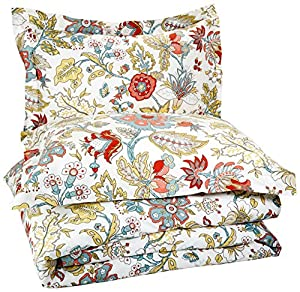 Pinzon Printed Cotton Duvet Set - Full/Queen, Floral Rosewood