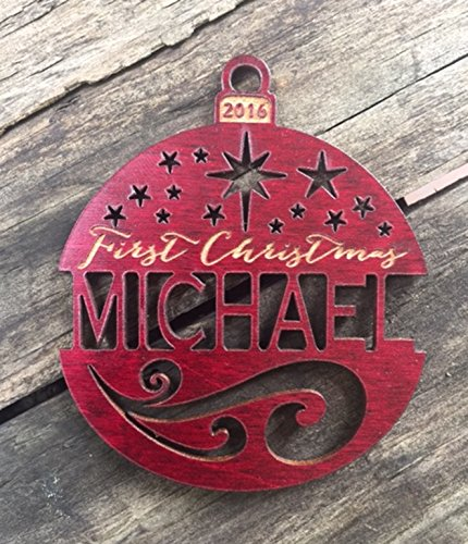 Personalized First Christmas Ornament 2016 (or any other year) from Solid Mahogany or Red Maple Wood