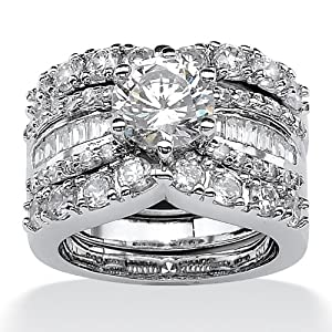 5.62 TCW Round Cubic Zirconia Platinum Over Sterling Silver Bridal Engagement Ring Wedding Band Set