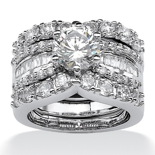 Platinum over Sterling Silver Cubic Zirconia Wedding Ring Set