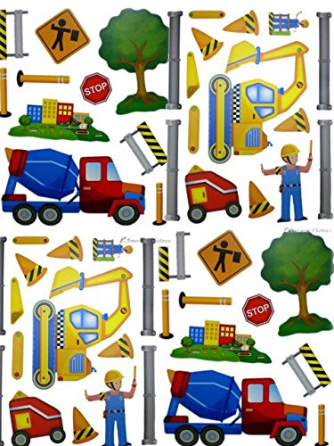 Set of 4 Boys Room Construction Builder Wall Stickers
