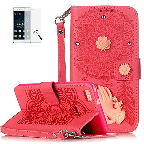 ISENPENK-Huawei-P9-lite2016-Flip-CaseOriginal-Flip-Bookstyle-Cover-Wasserdicht-Shockproof-Anti-Slip-Protection-Leather-CaseCampanula-Print-Muster-und-Blumen-Ornament-Pattern-Wallet-Case-mit-Intern-Kar