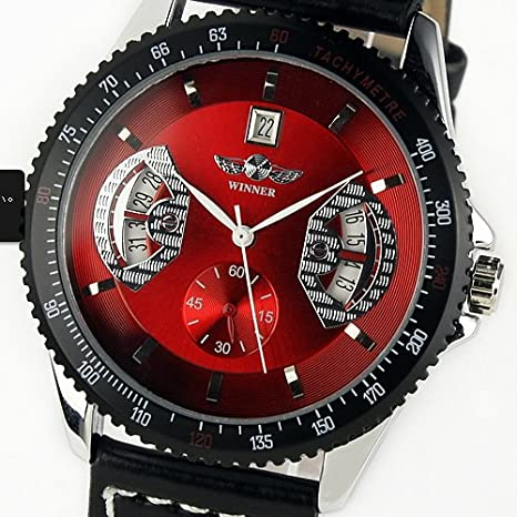 Vantasy Elegant Men's Tourbillon Automatic Mechanical Red Dial Skeleton Analog Date Stainless Steel Business Leather Watch