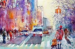 Startonight Wall Art Canvas Colored City Life, Sensation USA Design for Home Decor, Dual View Surprise Artwork Modern Framed Ready to Hang Wall Art 23.62 X 35.43 Inch 100% Original Art Painting!