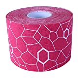 TheraBand Kinesiology Tape, Physio Tape for Pain Relief, Muscle Support, and Injury Recovery, Standard Roll with XactStretch Application Indicators, 2 Inch x 16.4 Foot Roll, Pink/White