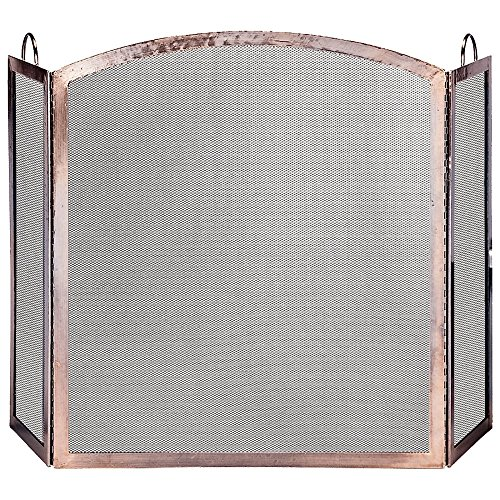 Uniflame, S-1307, 3-Panel Antique Copper Finish Screen with Arched Center Panel (Copper Panels compare prices)