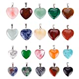 KeyZone 20 Pieces Heart Shaped Stone Pendants Charms Crystal Chakra Beads for DIY Necklace Jewelry Making, 2 Sizes, Assorted Color (Color: Heart, Tamaño: One Size)