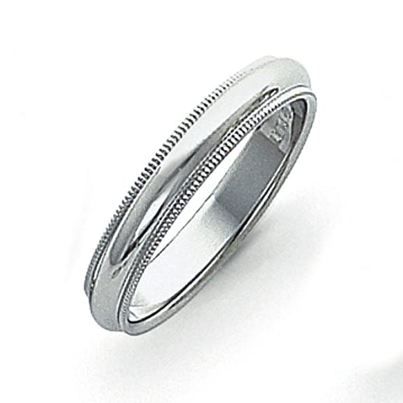 Platinum 4mm Comfort-Fit Milgrain Size N 1/2 Wedding Band Ring