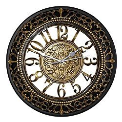 Foxtop 12 Inch European-style Vintage Retro Antique Royal Style Resin Wall Clock, Creative Home Living Room Boutique Hotel Mute Wall Clock (Gold)