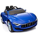 Maserati Alfieri Licensed Ride On Electric Toy Car For Kids 12V Battery Powered LED Lights MP3 RC Parental Remote Controller Leather Seat Suitable For Boys and Girls Blue