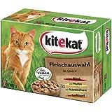 Kitekat Katzenfutter Fleischauswahl in Sauce, 48 Beutel (4 x 12 x 100 g)