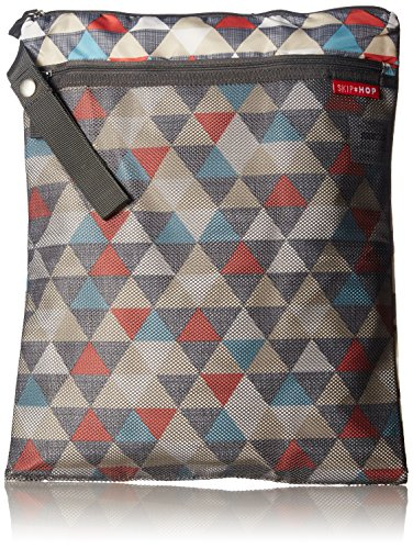Skip Hop Baby Grab and Go Wet / Dry Reusable Diaper Bag with Waterproof Lining and Attachable Strap, Multi Triangles