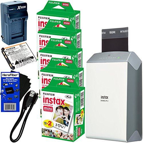 Fujifilm-instax-SHARE-Smartphone-Printer-SP-2-Silver-International-Version-No-Warranty-Instax-Mini-Instant-Film-100-sheets-Rchrgbl-Battery-ACDC-Charger-HeroFiber-Cleaning-Cloth