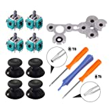 Onyehn 4pcs 3D Analog Joystick Thumb Sticks Sensor Replacement for Xbox one Controller with T8 T6 Torx Screwdriver Repair Kits Parts+1 Replacement D Pads Rubber Conductive R L button+4 Thumbsticks cap