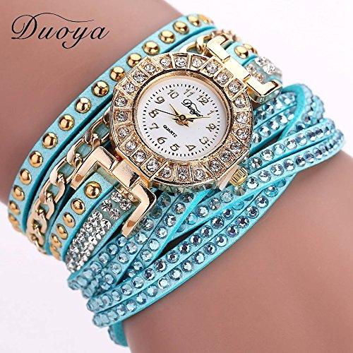 Vycloud (TM) DUOYA modo di marca di lusso del braccialetto del Rhinestone donne Guarda Orologi vestito dalle signore della vigilanza del quarzo casuale delle donne della vigilanza DY001