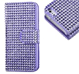 myLife (TM) Diamond Purple Haze Bling {Rhinestone Design} Faux Leather (Card, Cash and ID Holder + Magnetic Closing) Slim Wallet for the All-New HTC One M8 Android Smartphone - AKA, 2nd Gen HTC One (External Textured Synthetic Leather with Magnetic Clip + Internal Secure Snap In Hard Rubberized Bumper Holder + Lifetime Warranty)