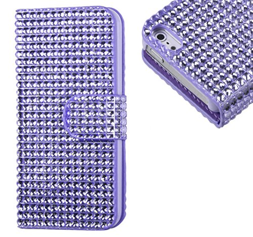 Mylife (Tm) Diamond Purple Haze Bling {Rhinestone Design} Faux Leather (Card, Cash And Id Holder + Magnetic Closing) Slim Wallet For The All-New Htc One M8 Android Smartphone - Aka, 2Nd Gen Htc One (External Textured Synthetic Leather With Magnetic Clip +