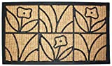 J & M Home Fashions Light Daisy Natural Coir and Rubber Doormat 18-Inch by 30-Inch