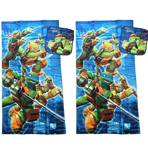 TMNT Teenage Mutant Ninja Turtles Towel Set Bath Bathroom Decor Accessories 2 Bath Towels, 2 Washcloths